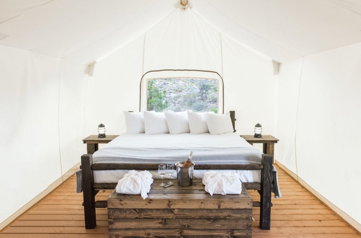 Zion bed inside canvas tent