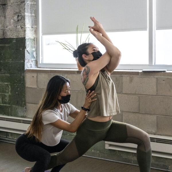 Soojin adjusting a student