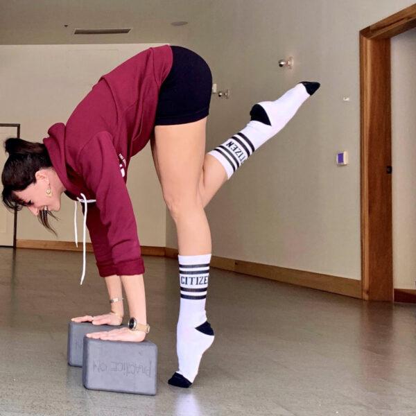lauren wearing socks and using blocks